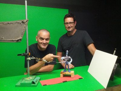 Ed Schofield and Mike Dietz as they work on Tommynaut from Armikrog.