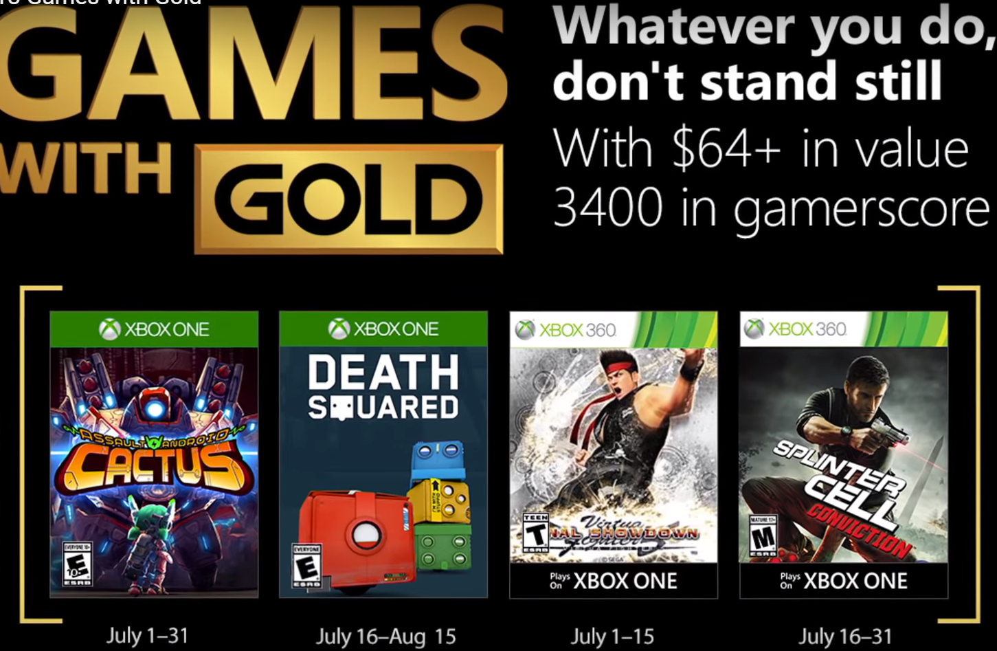 July With Gold Xbox