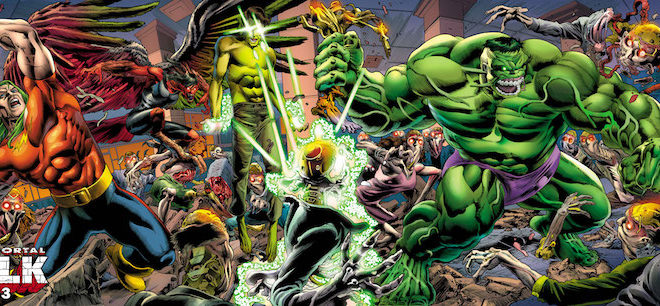Hulk battles Xemnu on the cover of issue 33, Hulk's 750th