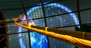 Sonic grinds down a rail in a snapshot for Sonic Colors Ultimate.